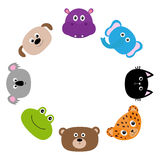 Cat, jaguar, dog, hippopotamus, elephant, bear, frog, koala. Round circle frame. Zoo animal head face. Cute cartoon character set. Royalty Free Stock Image