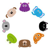 Cat, jaguar, dog, hippopotamus, elephant, bear, frog, koala. Zoo animal head face. Cute cartoon character set. Round circle frame. Royalty Free Stock Photography