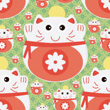 Cat japan money seamless pattern Royalty Free Stock Photo