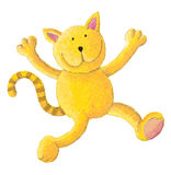 Cat jumps for joy. Acrylic illustration of cat jumps for joy Stock Image