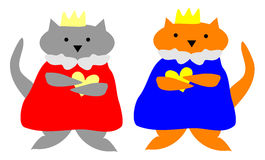 Cat King and Queen. The kitty cat king and queen hold their golden hearts of loyalty, with pride Stock Photos
