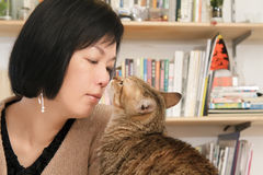 Cat kiss her master Stock Images
