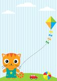 Cat and kite. Background with little cat, flying kite and toys Royalty Free Stock Photos