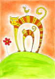 Cat and kitten, child's drawing, watercolor painting. On paper