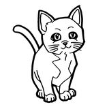 Cat and kitten Coloring Page for kid Royalty Free Stock Image