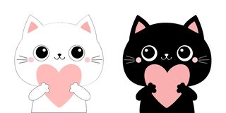 Free Cat Kitten Kitty Head Face Holding Big Pink Heart. Family Couple. Happy Valentines Day. Cute Cartoon Kawaii Funny Animal Character Royalty Free Stock Photo - 170266815