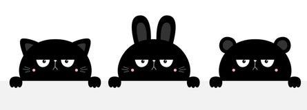 Free Cat Kitten Kitty Rabbit Bunny, Bear Set. Black Silhouette Holding Empty Paper. Cute Kawaii Cartoon Sad Character. Paw Print. Baby Royalty Free Stock Photo - 185148355