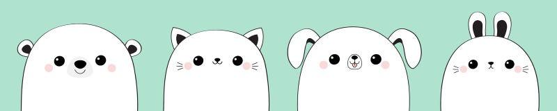 Cat kitten rabbit hare dog puppy bear face head set. Cute cartoon kawaii funny baby animal. Line contour silhouette. Friends. Forever. Flat design Love card stock illustration