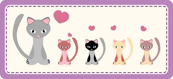 Cat with kittens. On a patchwork background Royalty Free Stock Image
