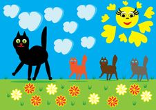 Cat and kittens on walk. Illustration Stock Photography