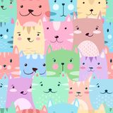 Cat, kitty - cute, funny pattern. royalty free illustration