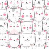 Cat, kitty - cute, funny pattern. stock illustration