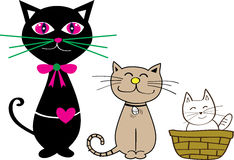 Cat and kitty. 3 cat and kitty graphic style Stock Photo