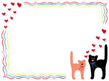 Cat and Kitty with hearts. Black Cat and Pink Kitty in Love, hand drawing vector cartoon Valentine greeting card Royalty Free Stock Photography