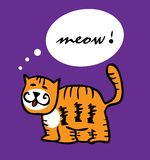 Cat kitty tiger cartoon funny vector illustration Royalty Free Stock Image
