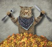Cat with knife and fork 2 stock image