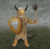 Cat knight with a mace 2 stock photo