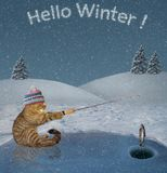 Cat on winter fishing 2. The cat in a knitted hat is in ice fishing on a frozen lake in the forest. Hello winter stock image