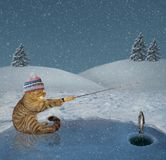 Cat on winter fishing. The cat in a knitted hat is in winter fishing on a frozen lake in the forest stock photo