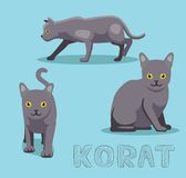 Cat Korat Cartoon Vector Illustration. Animal Character EPS10 File Format Royalty Free Stock Photos
