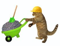 Cat laborer with wheelbarrow of gravel. The cat laborer in a safety helmet pushes the green wheelbarrow with gravel. White background Royalty Free Stock Images