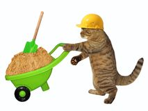 Cat laborer with wheelbarrow of sand. The cat laborer in a safety helmet pushes the green wheelbarrow with sand. White background Royalty Free Stock Photos