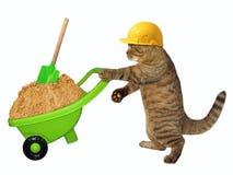 Free Cat Laborer With Wheelbarrow Of Sand Royalty Free Stock Photos - 120833618