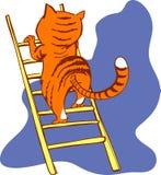 Cat on a ladder stock illustration
