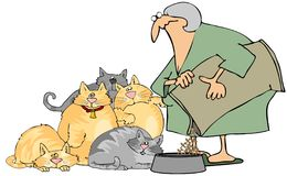 Cat Lady. This illustration depicts an old woman feeding a group of cats Royalty Free Stock Photos