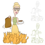 Cat Lady Feeding Food To Her Pets. An image of a cat lady feeding food to her pets Royalty Free Stock Photography