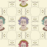 Cat lady. Grandma's cats pattern. Background with old lady and her cats Royalty Free Stock Photos