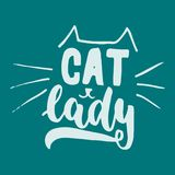 Cat lady - hand drawn lettering phrase for animal lovers on the dark blue background. Fun brush ink vector illustration Royalty Free Stock Images