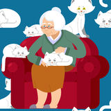 Cat lady pattern. Grandmother and cat sitting on chair pattern. Granny ornament . grandma and pet background. old woman and animal. gammer and Beast texture Stock Photography