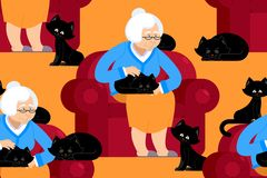 Cat lady pattern. Grandmother and cat sitting on chair pattern. Granny ornament . grandma and pet background. old woman and animal. gammer and Beast texture Stock Photo