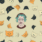 Cat lady pattern Stock Photography