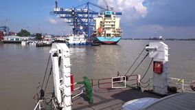 Cat Lai ferry and port stock video footage