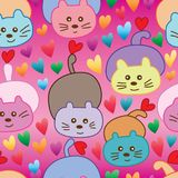 Cat lay down play tail love seamless pattern Stock Image
