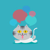 Cat lay down speech with many bubble quote Royalty Free Stock Images