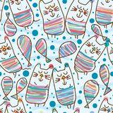 Cat lay cat seamless pattern. This illustration is design abstract cat rely cat in stylish drawing in seamless pattern Stock Images