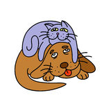 cat laying on the dog. Vector illustration. Stock Photography