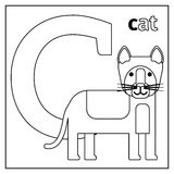 Cat, letter C coloring page Stock Photography