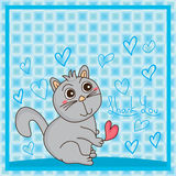 Cat liar thank you. Illustration abstract liar cat holding love thank you can fat health cute graphic blue color background Stock Photo