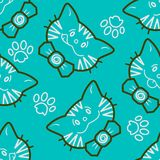 Cute Kitty Cat Bow Tie Seamless Background royalty free stock images