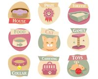 Cat life flat icons Stock Photography