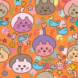 Cat like hedgehog lay down dream seamless pattern. This illustration is abstract cat like hedgehog bored dream the impossible but happy like dancing music note Royalty Free Stock Photos