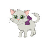 Cat with a lilac bow. Cartoon illustration of a kitten, smiling cat with a lilac bow Stock Photography