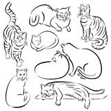 Cat Line Designs-Set 1 Royalty Free Stock Photography