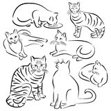 Cat Line Designs-Set 3 Royalty Free Stock Images