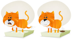 Cat Litter, Before And After Stock Photos