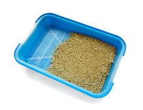 Cat litter box. Blue cat litter box isolated on white royalty free stock image